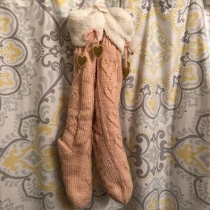 Vs PINK Sherpa lined tall slipper shimmer booties
